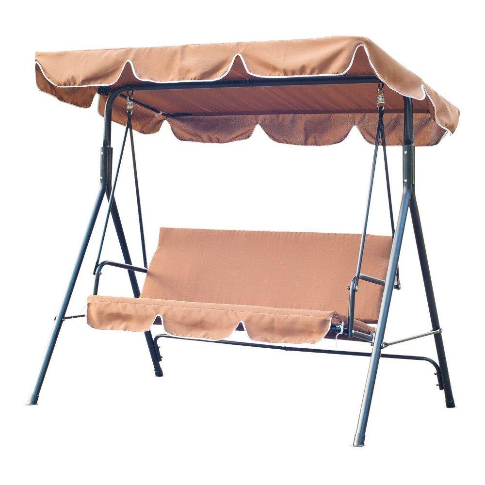 Hodleys Outdoor Garden Courtyard Swing Bench Chair 3 Seat Hanging Hammock (Black)