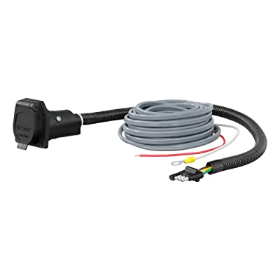 CURT 57186 4-Way Flat Vehicle-Side to 7-Way RV Blade Trailer Adapter with Brake Controller Wiring: Automotive
