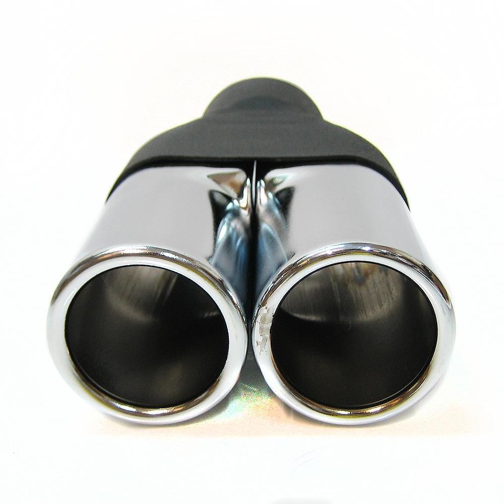 Boloromo 750 Universal Auspuff Blende Doppelrohr Endrohr Edelstahl Auspuffblende 43-57mm /Ø Chrom