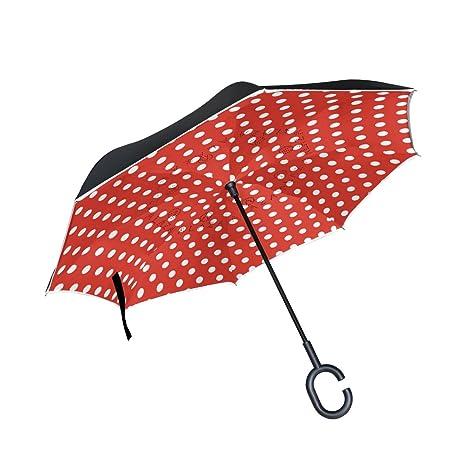 COOSUN Lunares blancos sobre fondo rojo de la capa doble del paraguas invertido inversa para el