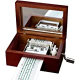 Vintage Wood 15 Note Mechanism Musical Box Handcrank Music Box Gift
