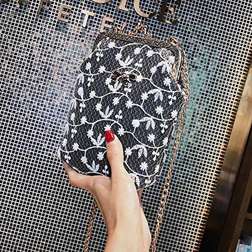 Hombro la Mensajero Cuero del cordón Ocasionales Mujeres de Bolsas de de Cadena PU Alexsix la de Bolso de Las Metal Muchacha Black de del la de Bolso zwTxHEaq8