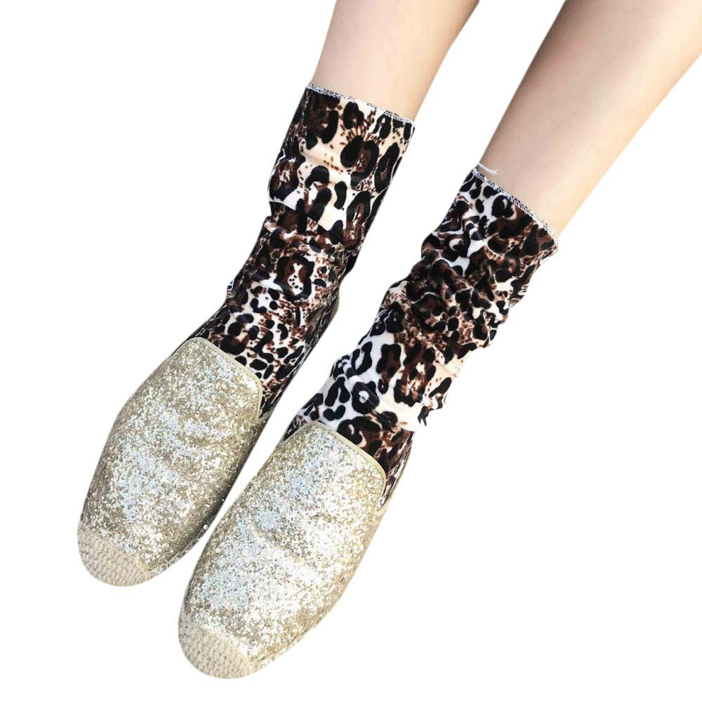 No Show Socks for Women, 2018 New Female Fashion Xmas Ins Style Mid Tube Piled Leopard Print Socks(Brown)