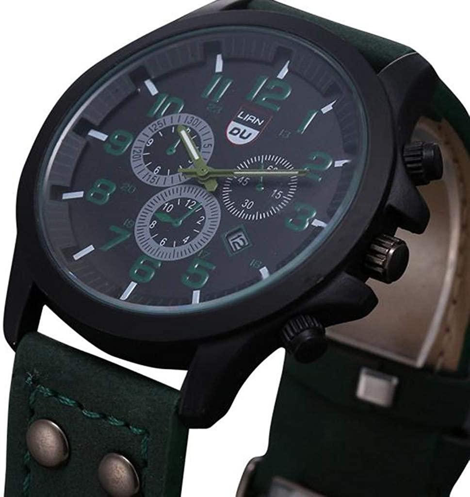BCDshop Date Watch, Men Vintage Classic Army Sport Chronograph Quartz Watch Easy to Read