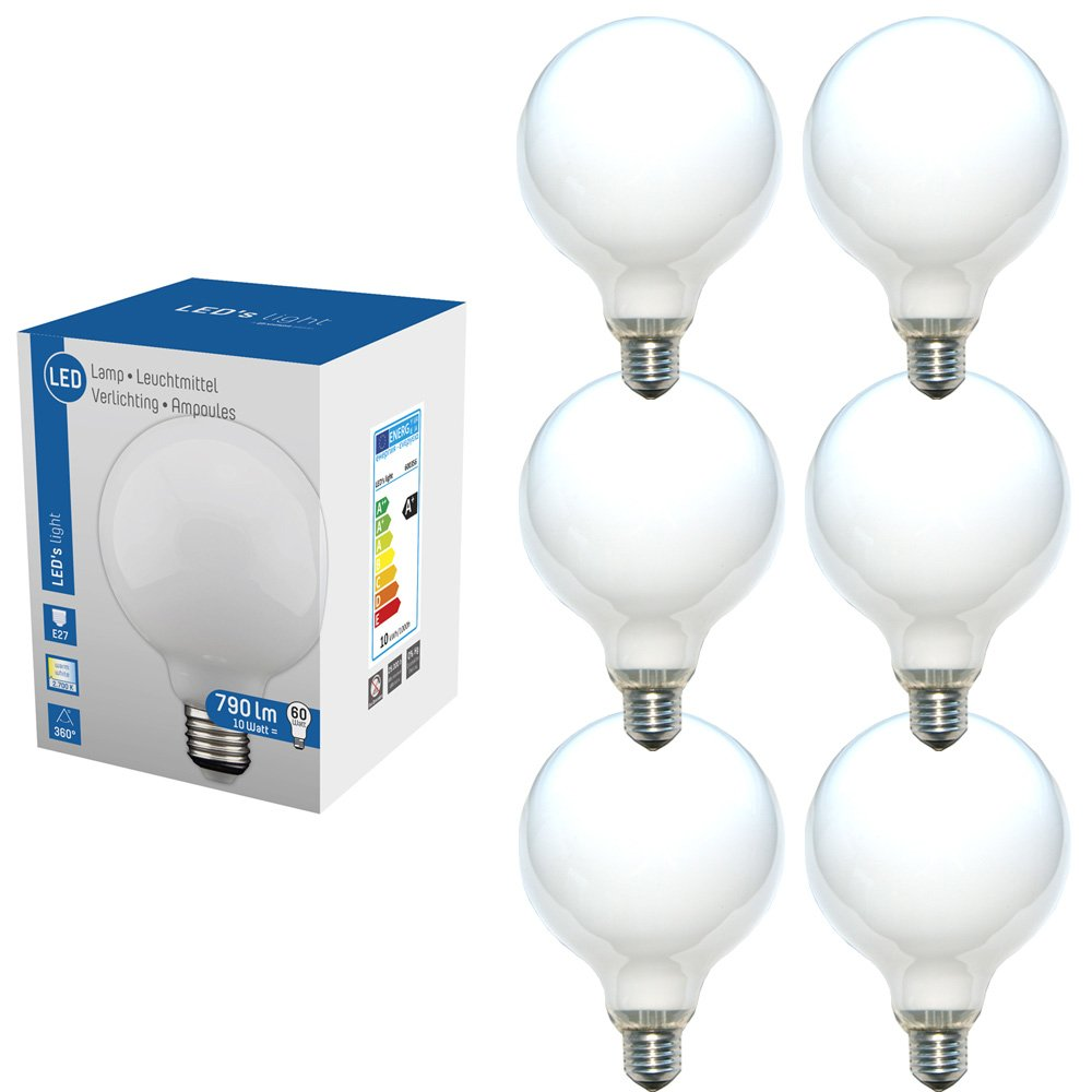 LED 360° Globe Glühbirne G120 10W = 60W E27 matt opal 790lm ...