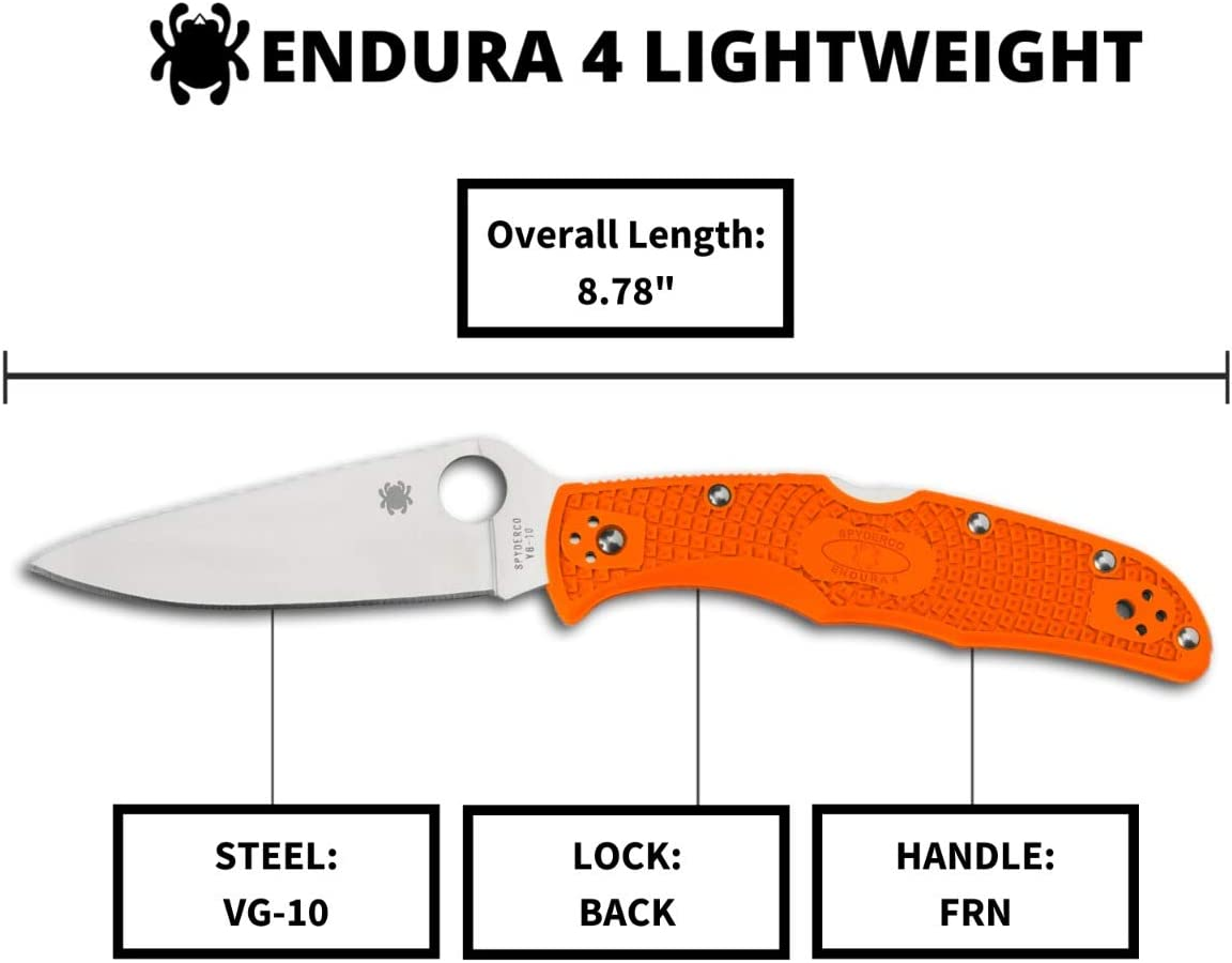 "Spyderco Endura 4 Lightweight Signature Knife with 3.80"" VG-10 Steel Blade and Orange FRN Handle"