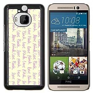 KLONGSHOP // Cubierta de piel con cierre a presión Shell trasero duro de goma Protección Caso - amar viñeta rosa escribir texto amarillo - HTC One M9Plus M9+ M9 Plus //