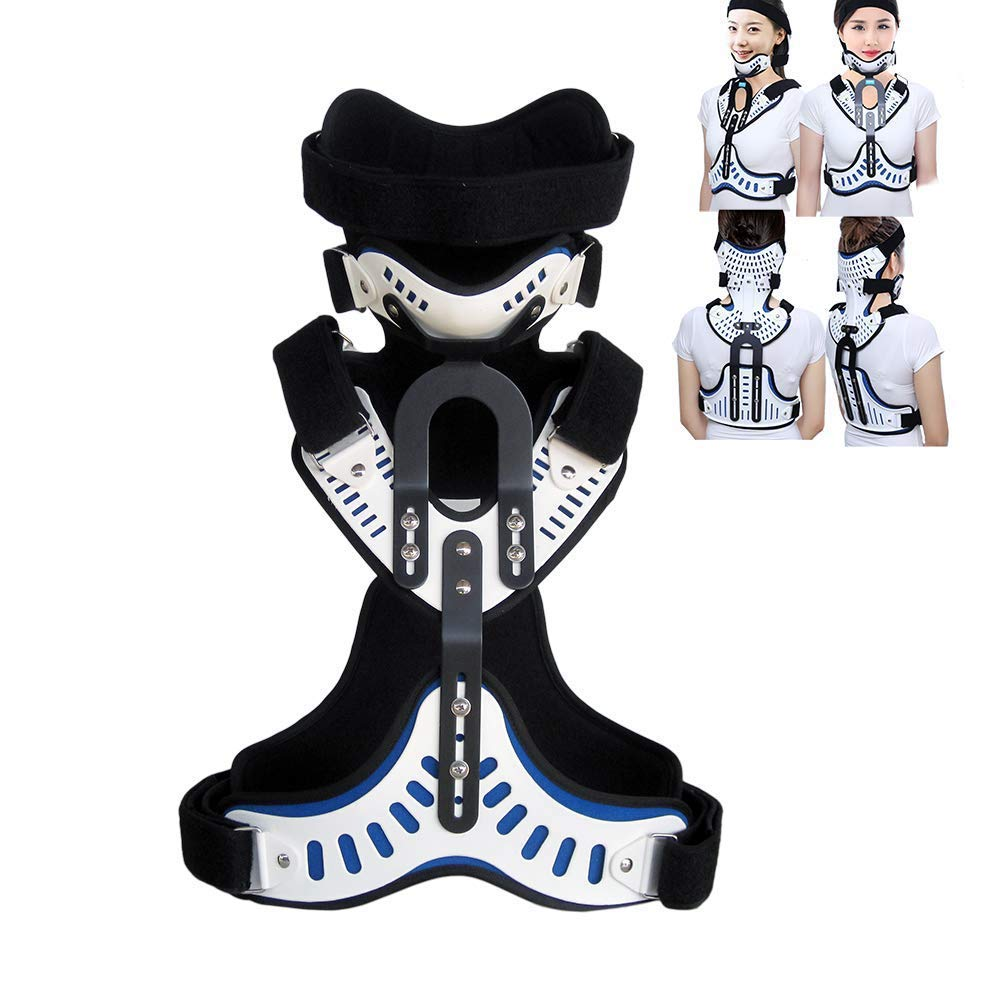PILIBEIBEI Head Neck Chest Orthosis Adjustable Cervical Thoracic Orthosis U Lumbar Support, Cervical Vertebra Fixation Orthoses Chest Supports Tractor Traction Neck Brace,Breathable