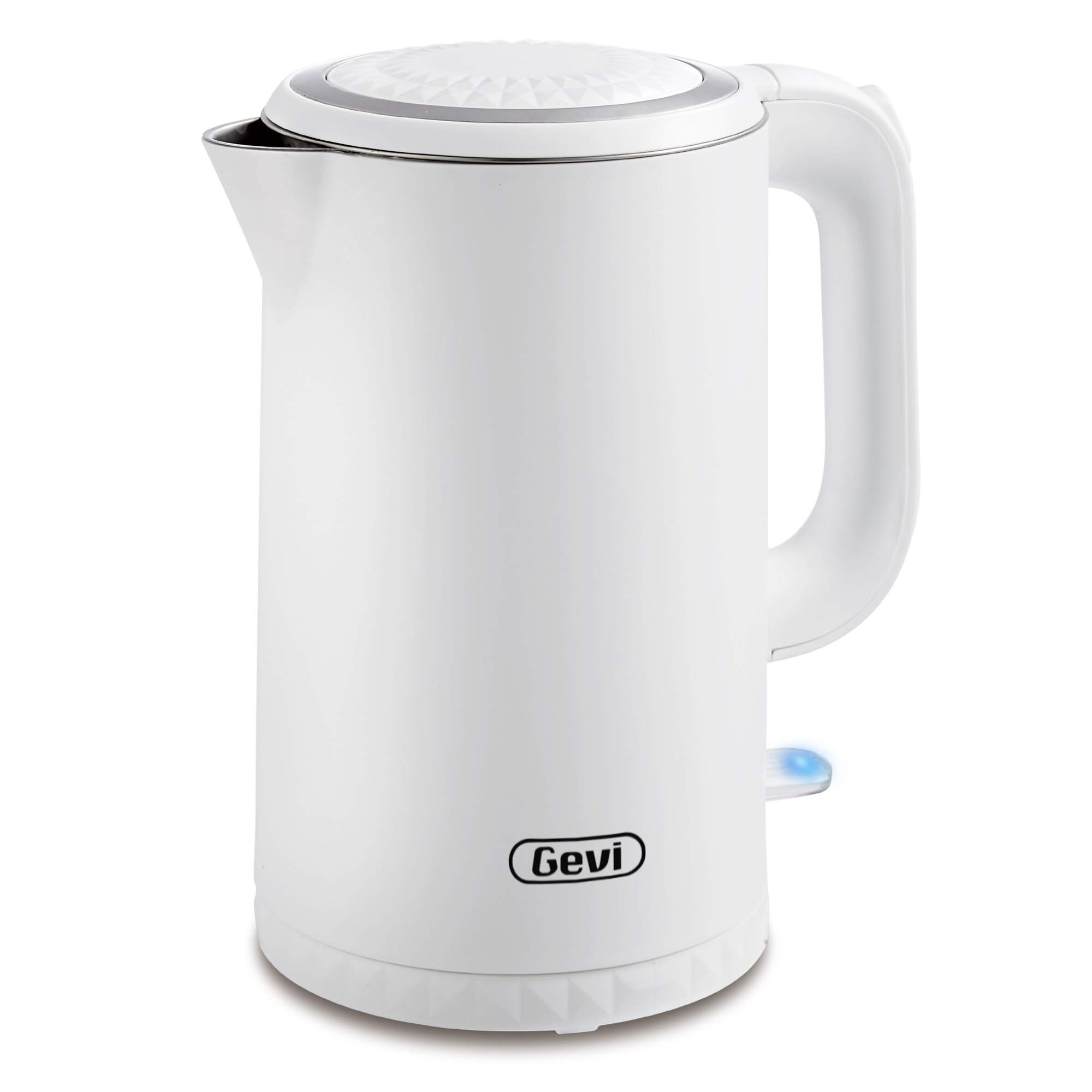 Electric Kettle, Gevi 1.7 Liter Cool Touch Double Wall Stainless Steel Cordless Tea Kettle, Hot Water Boiler with 1500W Strix Control, Metta White