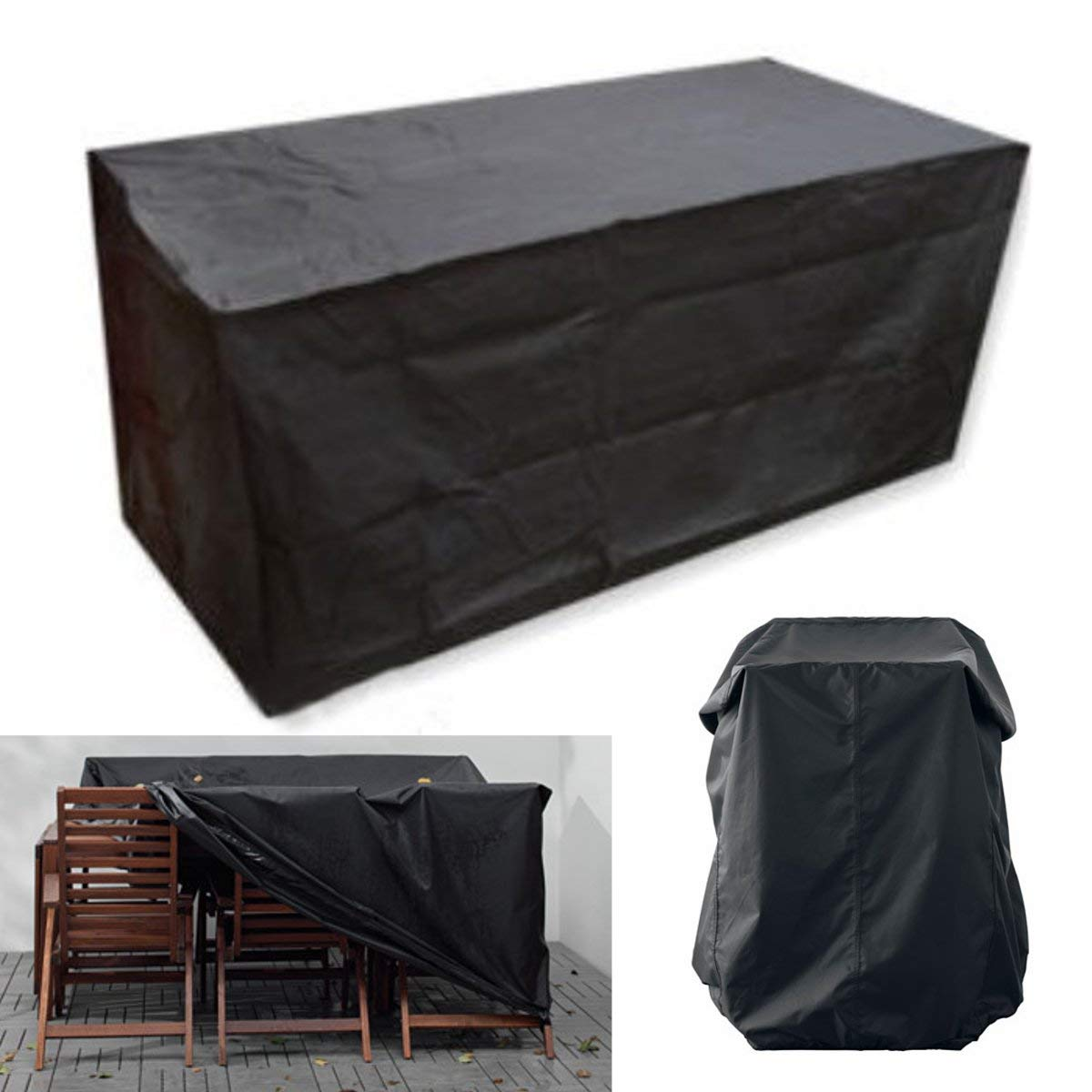 170X97X71cm Black Patio Furniture Set Covers Waterproof Outdoor Furniture Protector Waterproof Dust Proof Protective Covers