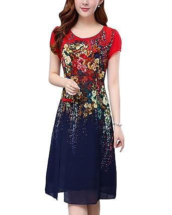 Damen Chiffon Kleid Knielang Mit Kurzarm Cocktailkleid Elegant Blumenmuster Kleid  Blau 5XL 5813e3de3c