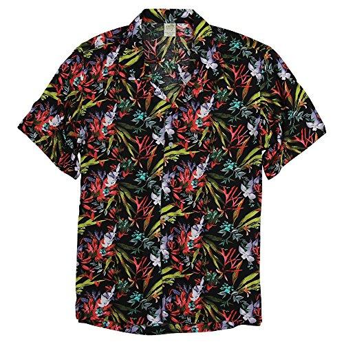 Urban Boundaries Men's Short Sleeve Lightweight Hawaiian Tropical Patterns Shirts (Oahu Black, Small) ()