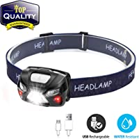 Head Torch,OUTERDO Sensor Headlamp LED Rechargeable 6 Modes Head Lights with Super Bright White Light and Warn Red Light,USB Charging Lightweight for Reading, Working, Camping, Walking, Waterproof