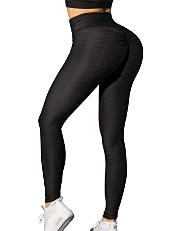 TSUTAYA Womens Ruched Butt Lifting Yoga Pants High Waist Tummy Control Push Up Workout Leggings Textured Booty Tights