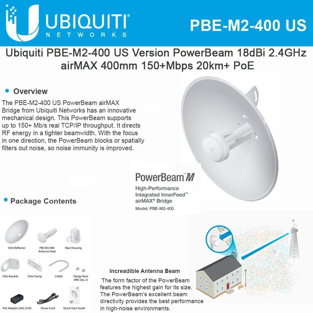 PowerBeam M2 PBE-M2-400 - Antena para Antena de Antena con PoE (2,4 GHz)