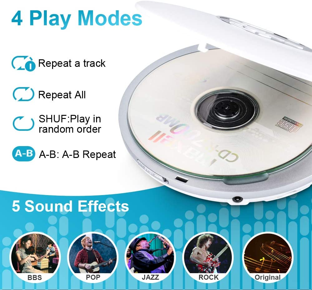 Qoosea Portable CD Player Compact CD Disc Player Personal Music Player with Headphone High Resolution Lossless Digital Audio Walkman Discman with LCD Display Jack AUX Cable for Home Car /& Travel