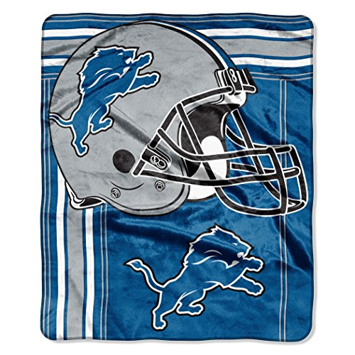 "The Northwest Company NFL Detroit Lions Touchback Plush Raschel Throw, 50"" x 60"", Honolulu Blue"