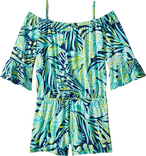 Lilly Pulitzer Kids Baby Girl's Mini Calla Romper (Toddler/Little Kids/Big Kids) Bright Navy Party Like A Flock Star Large by Lilly Pulitzer