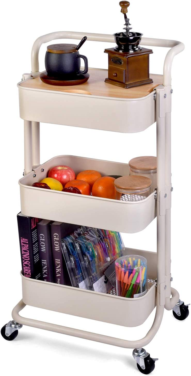 QW Movable Storage Utility Rolling Cart, Rolling End Table for Organization, Fit for Office Home and Kitchen, Cream