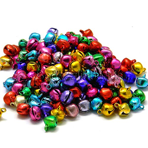 (300 Assorted 9mm Bright Color Jingle Bells with Loop for Charms or Dangles in a Mix of Colors )