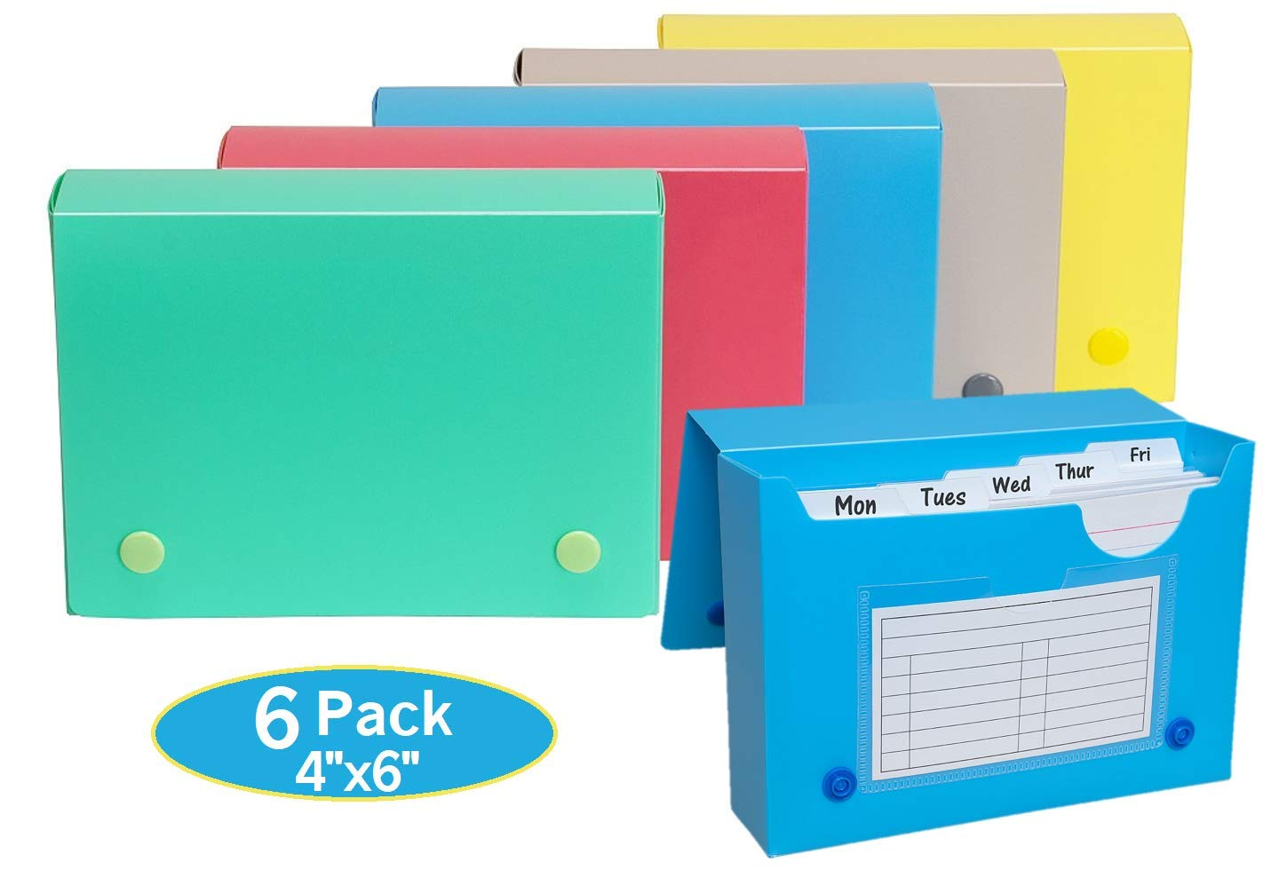1InTheOffice Index Card Case, 4x6 Index Card Holder, Assorted Colors (6 Pack) by 1InTheOffice