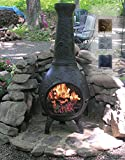 The Blue Rooster Co. Dragonfly Style Cast Aluminum Wood Burning Chiminea in Charcoal.