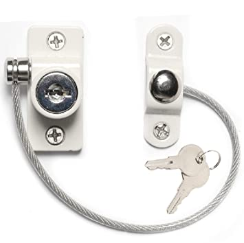 White Window /& Door Cable Restrictor Lock With Screws Child /& Baby Safety Security Wire
