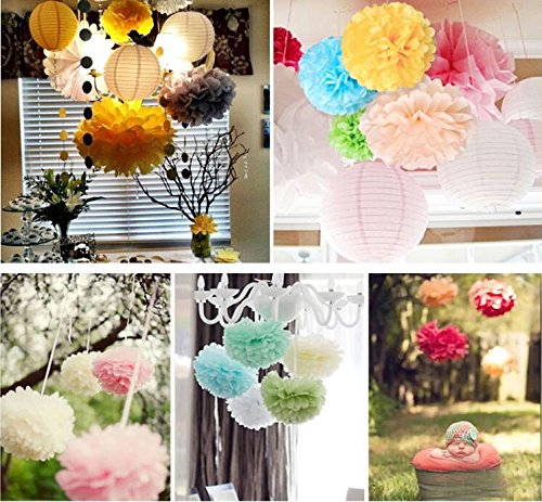 Since/®12Pcs of 8 10 14 3 Colors Grey Tissue Paper Flowers,Tissue Paper Pom Poms,Wedding Party Decor,Pom Pom Flowers,Tissue Paper Flowers Kit,Pom Poms Craft,Pom Poms Decoration