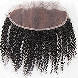 Brazilian Kinky Curly Lace Frontal Closure 13×4″ Virgin Remy Human Hair Extensions Free Part Front Closures With Baby Hair Bleached Knots 14 inches Natural Color