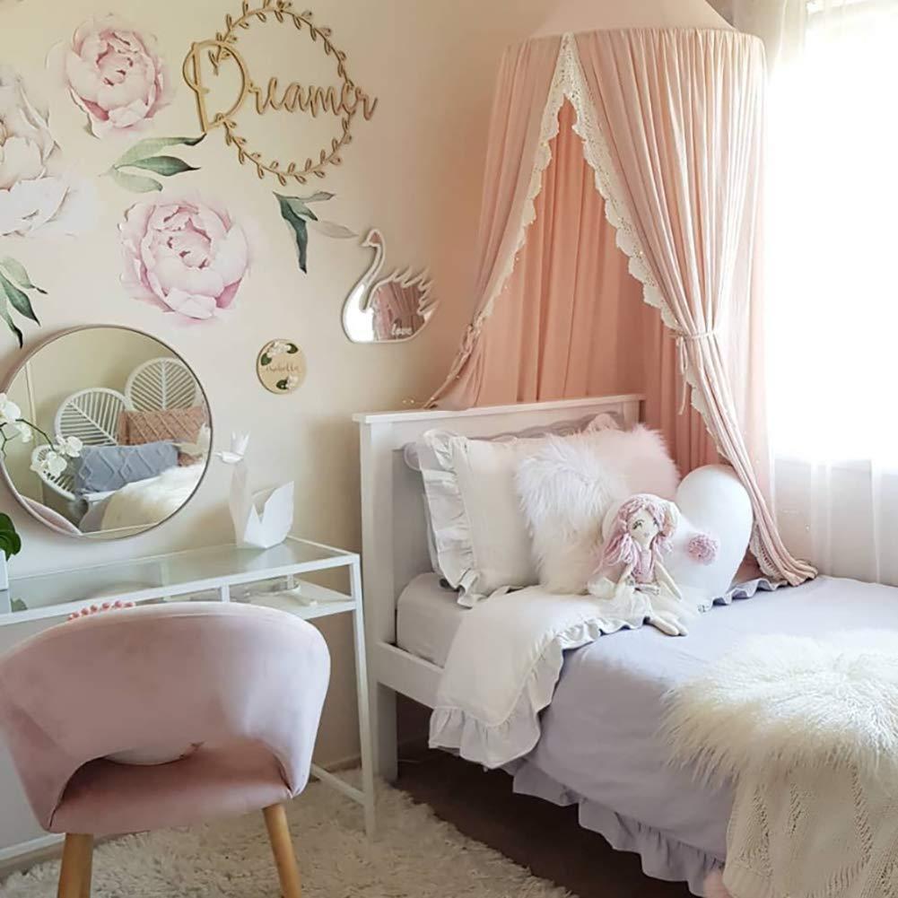 Naturer Grau Rosa Betthimmel Baldachin Fur Kinderzimmer Mit Spitze