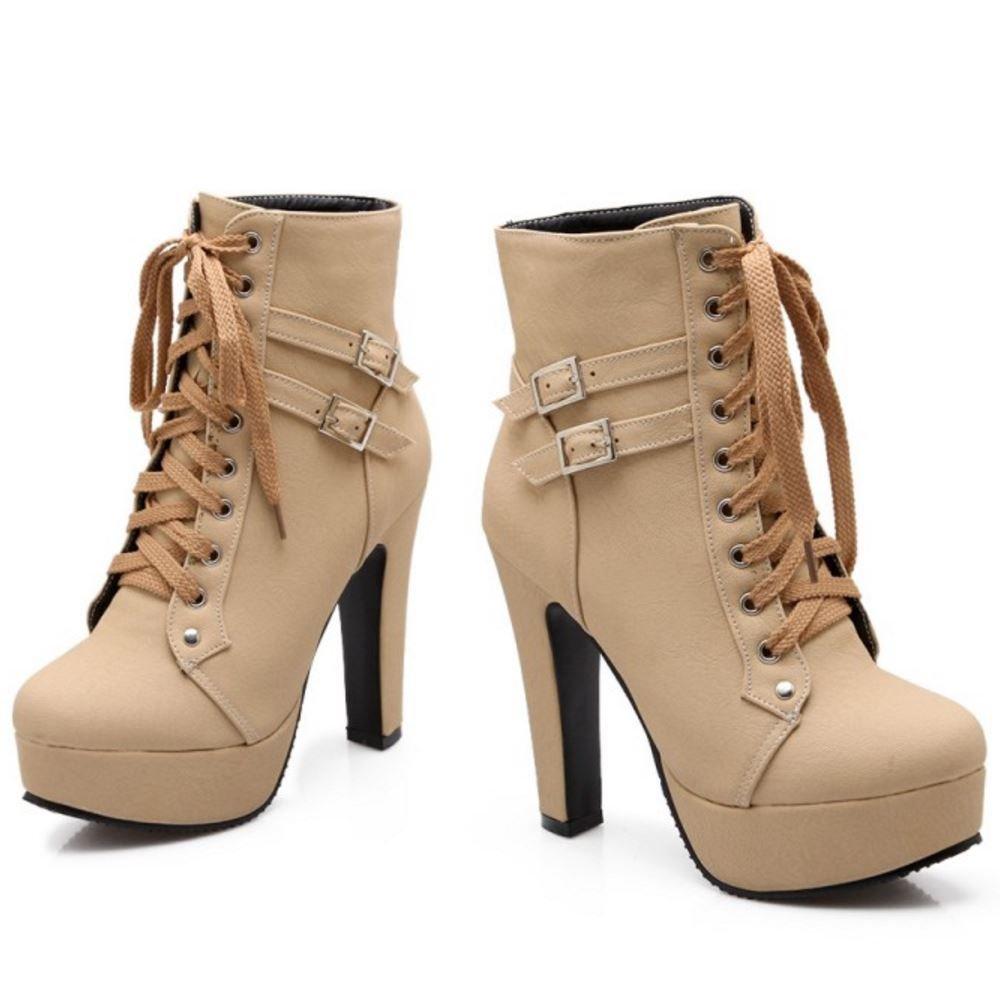 RAZAMAZA Moda Botines de Tacon Alto Botas con Plataforma para Mujer: Amazon.es: Zapatos y complementos