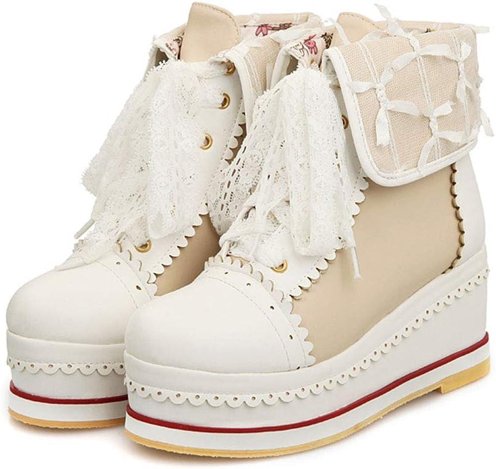 Burlesque Lolita Red Satin Black Lace Collar Platform Stiletto Heel Ankle Boots