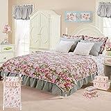 Cotton Tale Designs 100% Cotton Pink, Blue, Multi Soft Colored Floral & Cream Faux Fur Twin 5 Piece Reversible Quilt Bedding Set - Girl