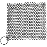 Senpulism Cast Iron Skillet Cleaner, The Ringer Cast Iron Cleaner Chainmail Scrubber for Pan Pot Dutch Oven, 8 Inch Square Chain Male Cast Iron Cleaner