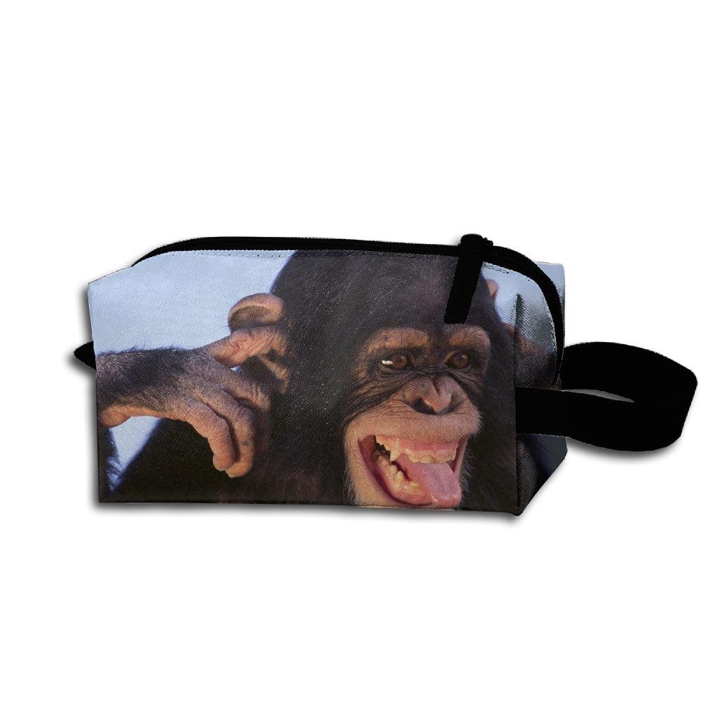 Makeup Cosmetic Bag Animals Monkey Zip Travel Portable Storage Pouch For Men Women