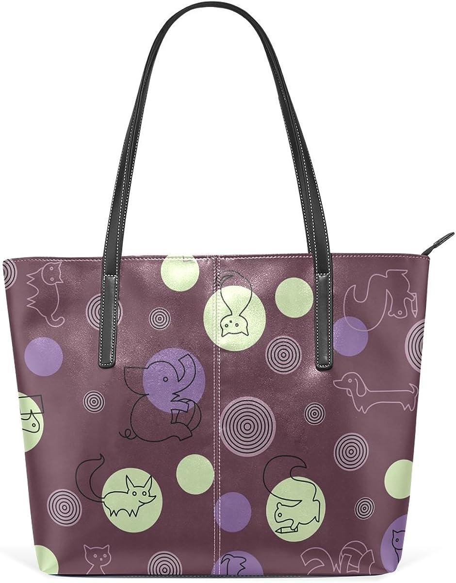 Funny Cartoon Animal Leather Handbags Purses Shoulder Tote Bags Satchel Womens