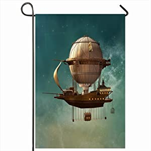 Onete Garden Flag 12x18 Inches Steampunk Fairytale Punk Hot Boat Fantasy Air Balloon 3D Fly Fairy Airship Transportation Vintage Outdoor Seasonal Home Decor Welcome House Yard Banner Sign Flags