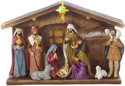 Kurt Adler Battery Operated Nativity Table Set, 12-Inch