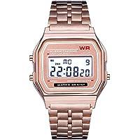 Fenebort Watch, LED Digital Reloj de pulsera de cuarzo resistente al agua Vestido dorado Reloj de pulsera Mujeres Hombres, Bandas de reloj de acero inoxidable, Clásico, Moda, Regalo de San Valentín_x000D_