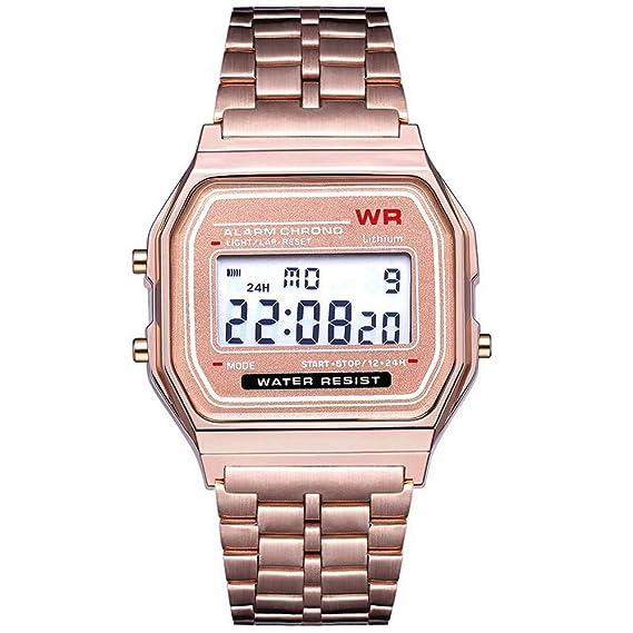 LED Digital Impermeable Reloj de Pulsera de Cuarzo Vestido de Oro Reloj de Pulsera Mujeres Hombres Correa de Acero Luminosa multifunción de Metal ...