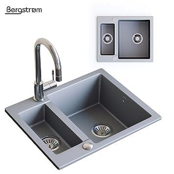Granit Verbundspüle Küchen Einbau Auflage Spüle Doppelbecken Spülbecken +  Siphon