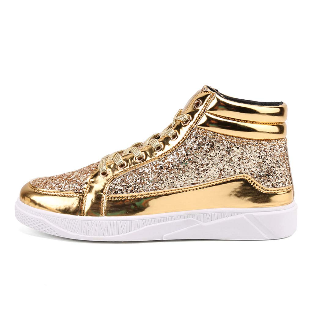 High-Top Sneaker 2019 Casual Fashion Sequin Round Toe Non-Slip Shoes Boots (US:11, Gold) by Suoxo Men Shoes