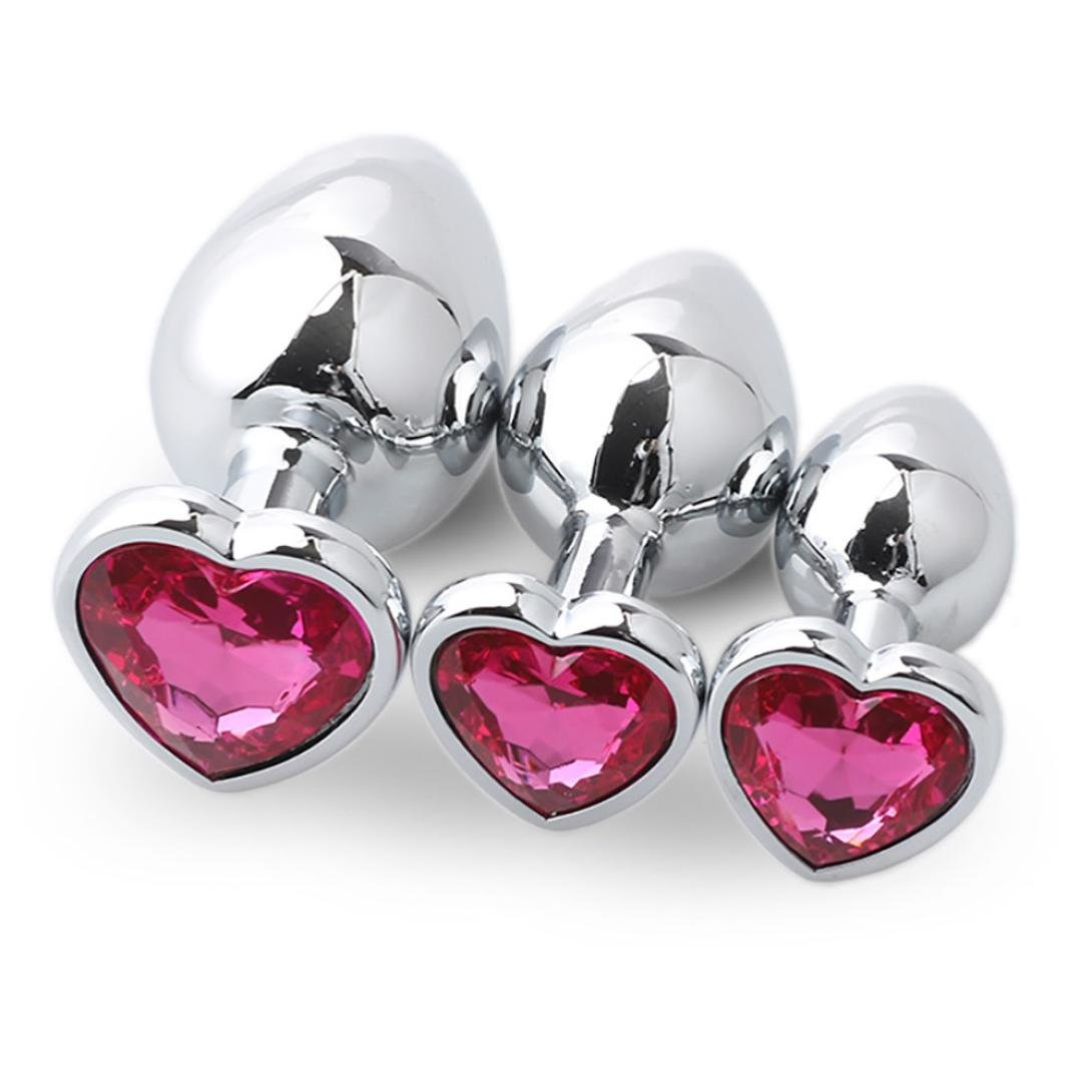 Yoyorule 3 Pcs Heart Shaped Butt-Anal-Play Sex Base with Jewelry Birth Stone G-spot Rose Jewel (Hot Pink)