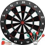 Safety Darts Kids Dart Board Set - 16 inch Rubber Dart Board 6 Soft Tip Darts Children Adults, Office Family Time