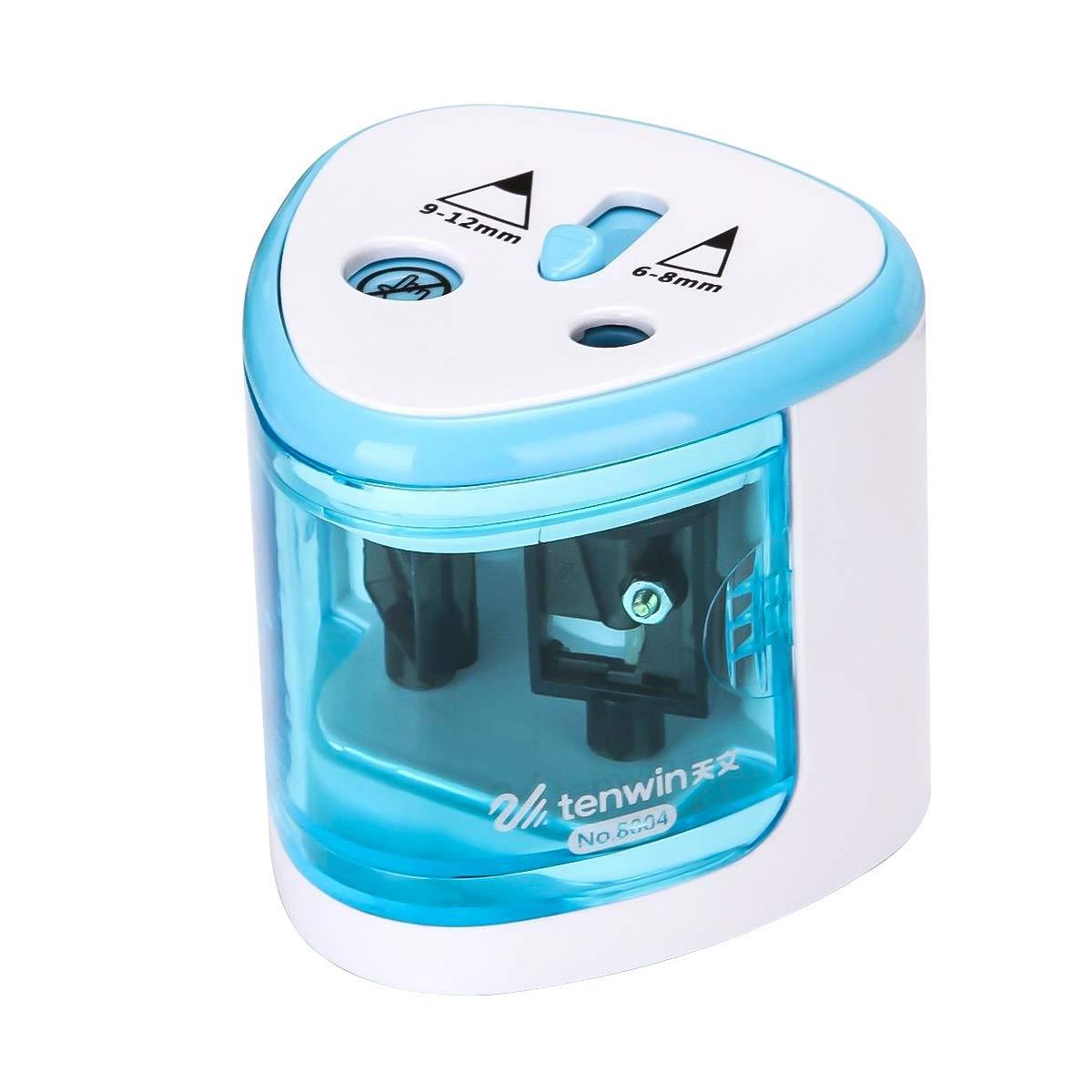 Color : Azul HaiQianXin Sacapuntas de l/ápiz autom/áticos el/éctricos con Doble Agujero Sacapuntas de l/ápiz de la Escuela Papeler/ía
