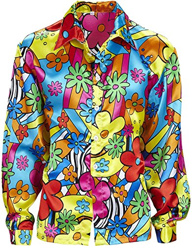 70s Dress Men (Mens Flower Power Shirt Costume Extra Large Uk 46