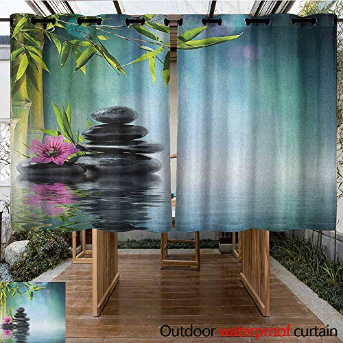 (AndyTours Outdoor Curtain Panel for Patio,Spa,Tower Stone and Hibiscus with Bamboo on The Water Blurry Background,Darkening Thermal Insulated Blackout,K183C115 Petrol Blue Fuchsia Lime Green)