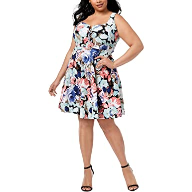 74dcbe063d321 Image Unavailable. Image not available for. Color: Soprano Womens Plus  Floral Print Sweetheart Neck Mini Dress ...