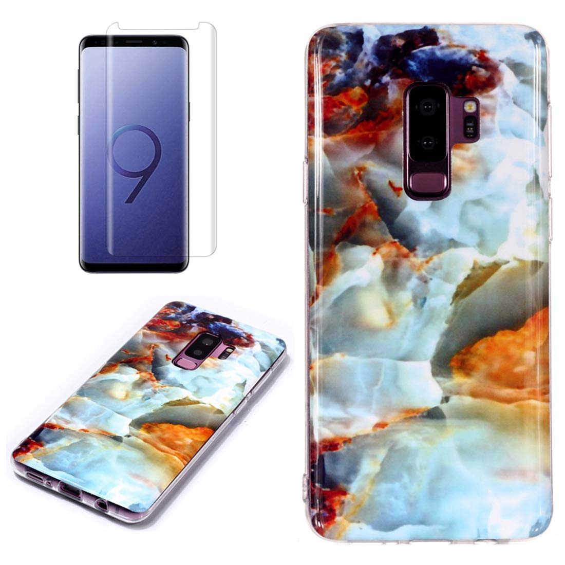 for Samsung Galaxy S9 Plus Marble Case with Screen Protector,Unique Pattern Design Skin Ultra Thin Slim Fit Soft Gel Silicone Case,QFFUN Shockproof Anti-Scratch Protective Back Cover - Fire Cloud