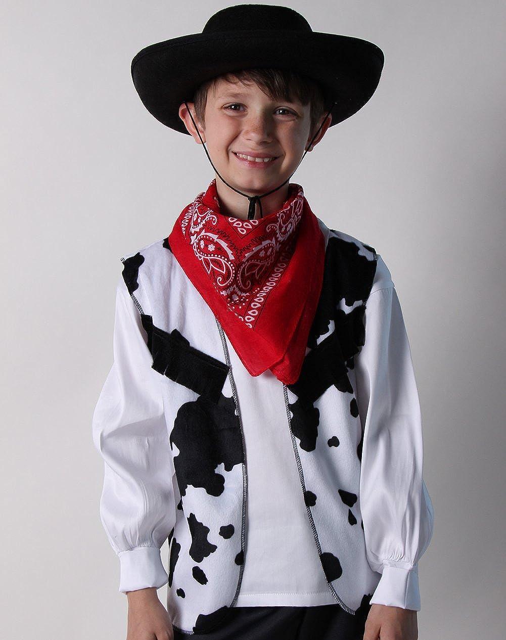 Making Believe Felt Hat Kids Western Cowboy Costume Set Choose Color and Size Bandanna Vest Chaps